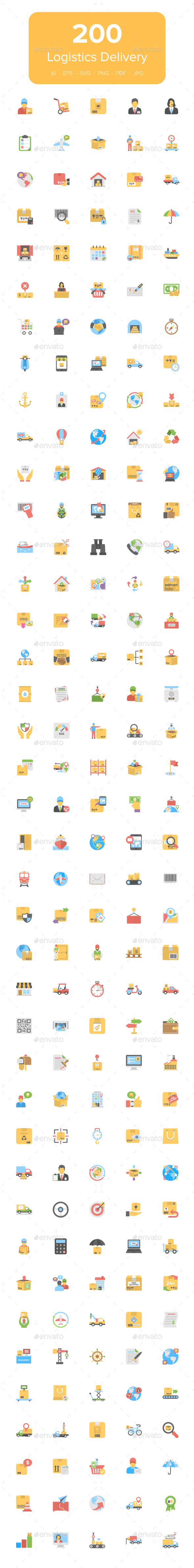200 Flat Logistics Delivery Icons - Icons