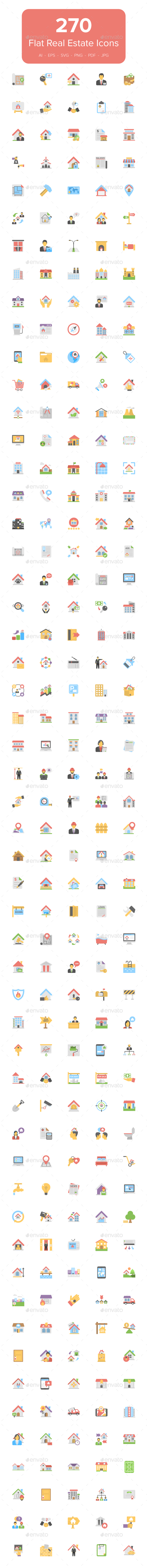 270 Flat Real Estate Icons - Icons