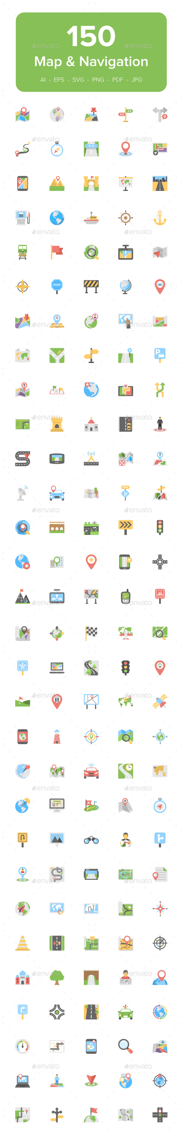 150 Map and Navigation Flat Icons - Icons