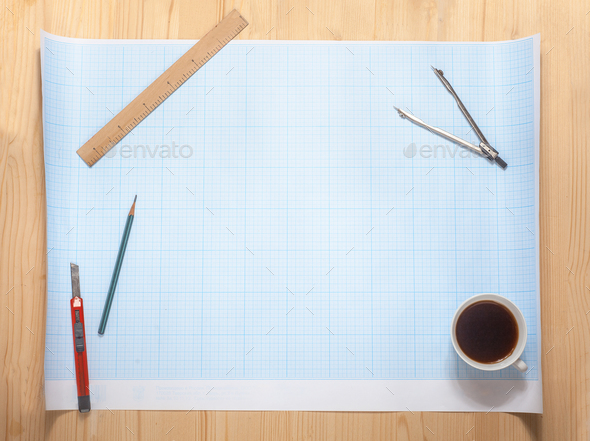 blank of the blueprint on workspace - Stock Photo - Images