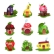 Set of Fantasy Houses in Form of Eggplant, Pear