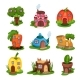 Cartoon Set of Fairy-tale Houses in Various Shapes