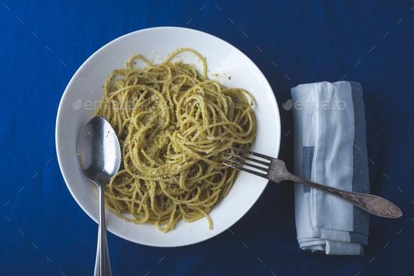 italian pasta with pesto sauce - Stock Photo - Images