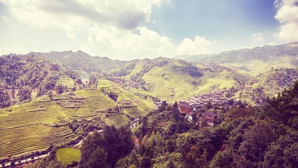 Longji Rice terraces, China. - Stock Photo - Images