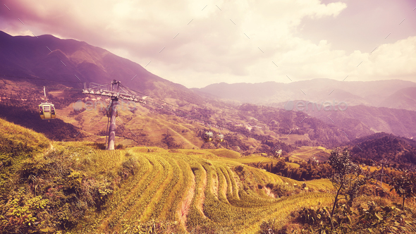 Cable car above the Longji Rice terraces, China. - Stock Photo - Images