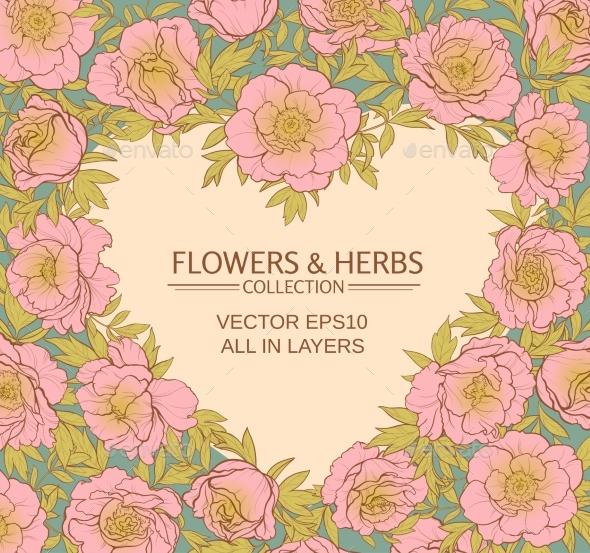 Puonies Vector Heart - Flowers & Plants Nature