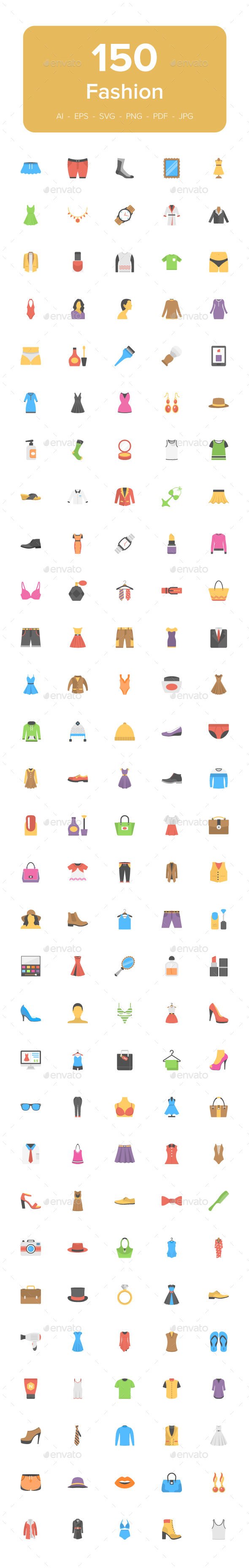 150 Fashion Flat Vector Icons - Icons
