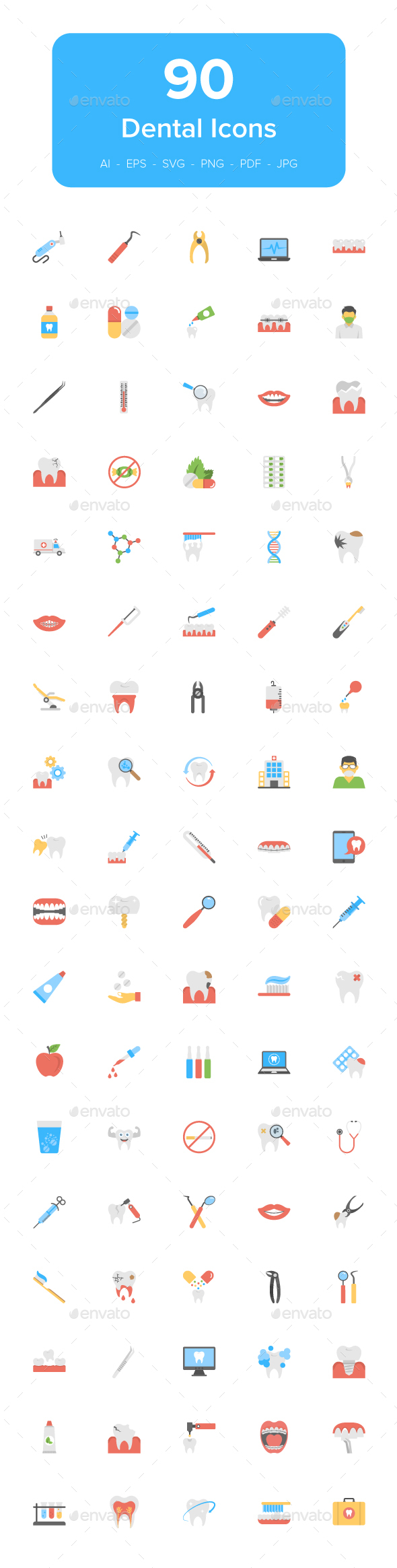 90 Dental Flat Vector Icons Set - Icons