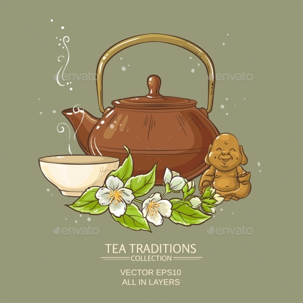 Jasmine Tea Vector Illustration - Health/Medicine Conceptual