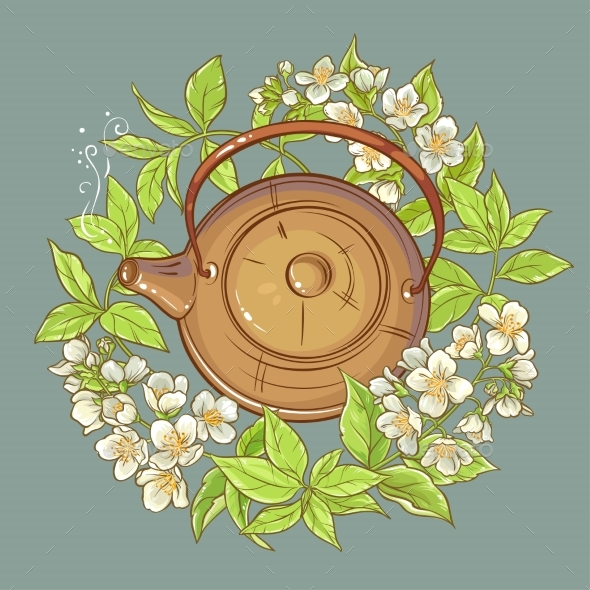 Jasmine Tea Vector Illustration - Flowers & Plants Nature
