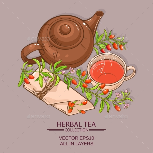 Goji Tea Vector Illustration - Food Objects