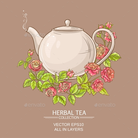 Rose Tea Vector Illustration - Food Objects