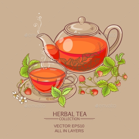 Strawberry Tea Vector Illustration - Food Objects