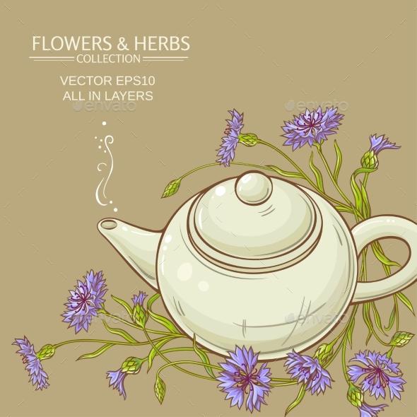 Corn Flower Tea Vector Background - Food Objects