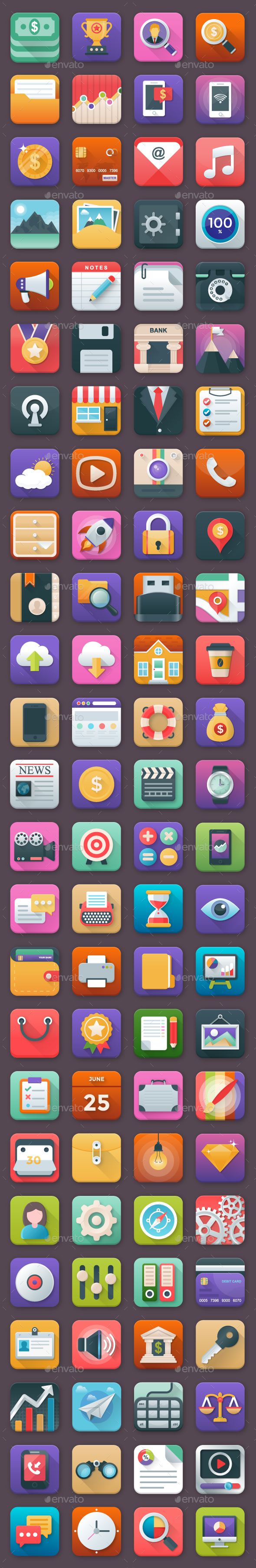 100 Business App Icons Set - Icons