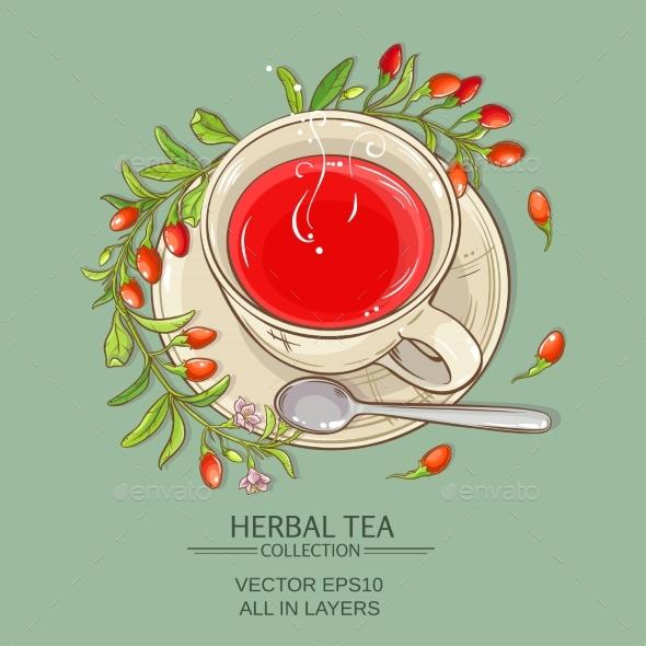 Goji Tea Vector Illustration - Food Objects