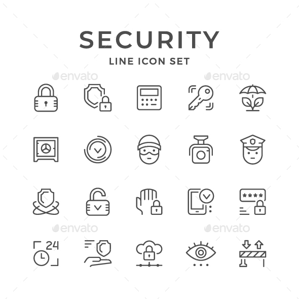Set Line Icons of Security - Man-made objects Objects