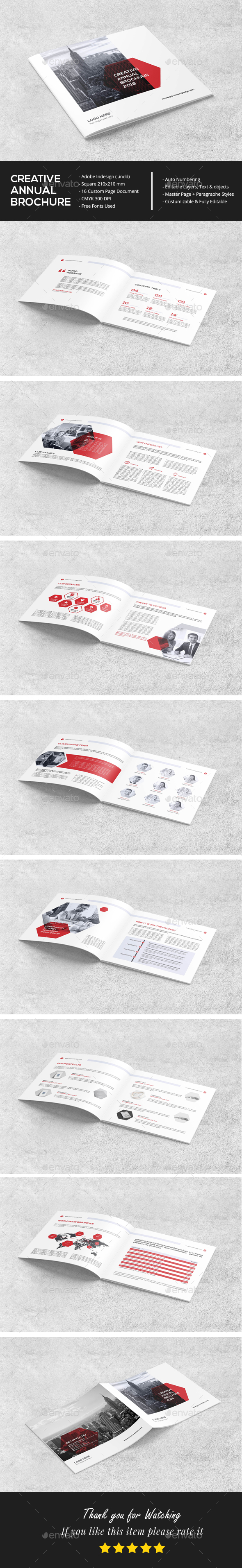 Square Clean Annual Brochure - Brochures Print Templates