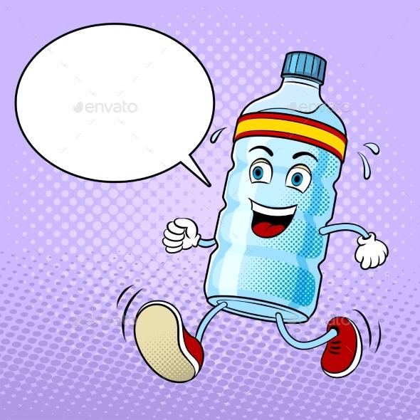 Run Bottle of Water Pop Art Vector - Food Objects