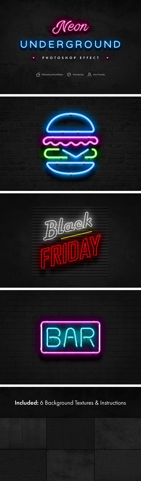 Neon Underground Photoshop Effect - Text Effects Styles