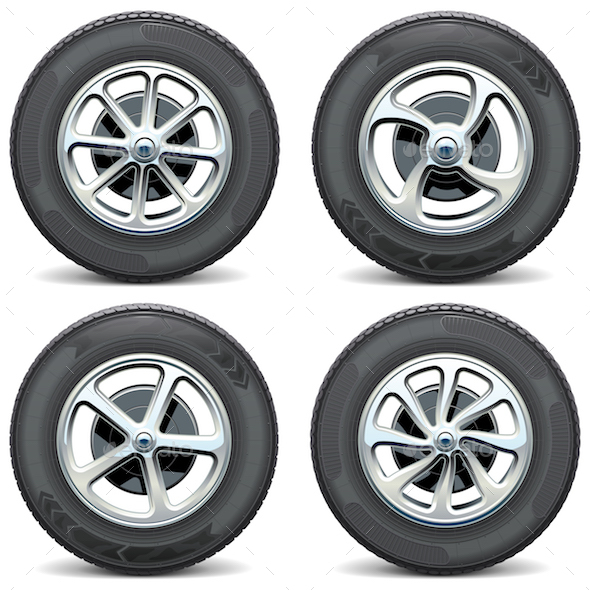 Vector Car Wheels Side View