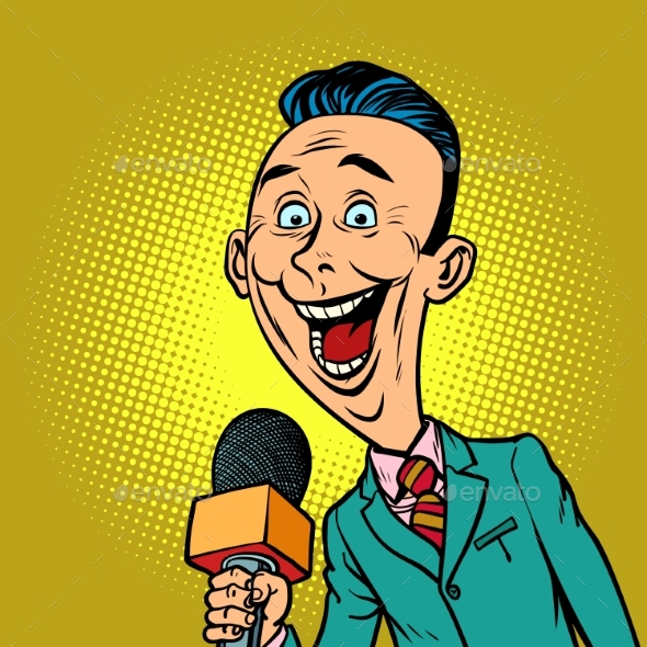 Enthusiastic Joyful Reporter Correspondent - Business Conceptual