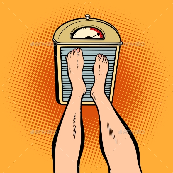 Feet on the Scales. Diet and Weight - Health/Medicine Conceptual