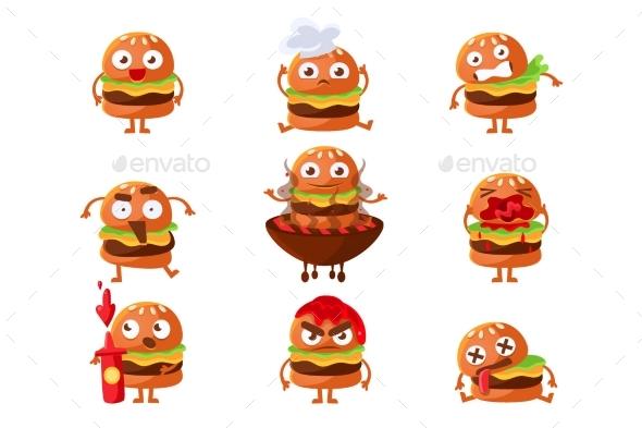 Burger Fast Food Sandwich Cartoon Humanized - Food Objects