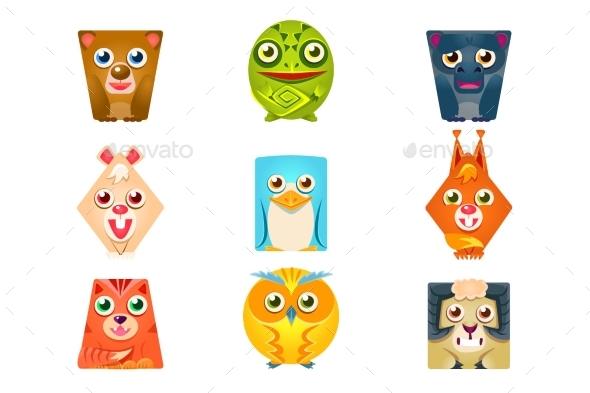 Geometric Shape Flat Cartoon Animals Set  - Animals Characters