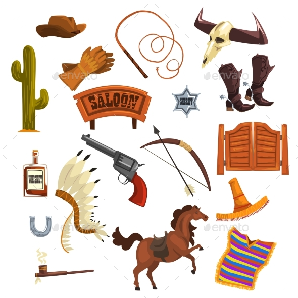 Wild West Elements Set, Cowboys Accessories - Miscellaneous Vectors