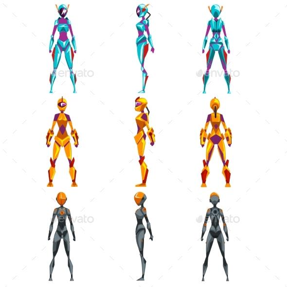 Robot Costumes Set, Superhero Woman Vector - Technology Conceptual