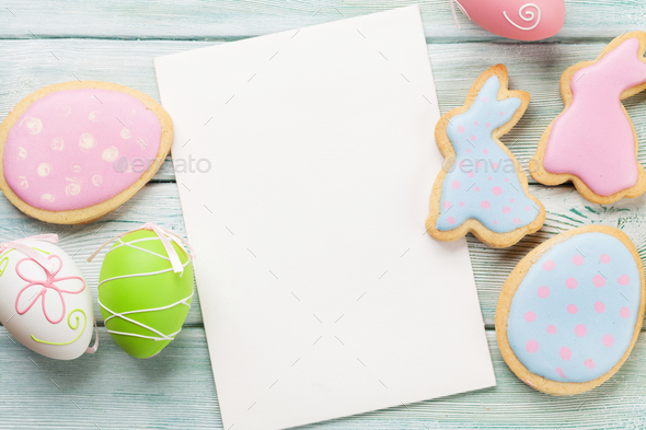 Easter gingerbread cookies and greeting card - Stock Photo - Images
