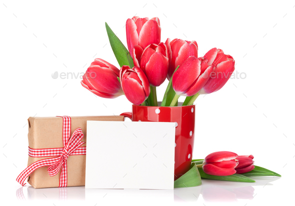 Red tulip flowers bouquet and gift box - Stock Photo - Images