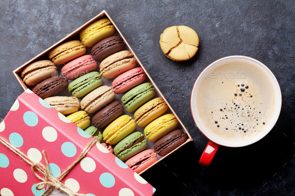 Colorful macaroons and coffee - Stock Photo - Images