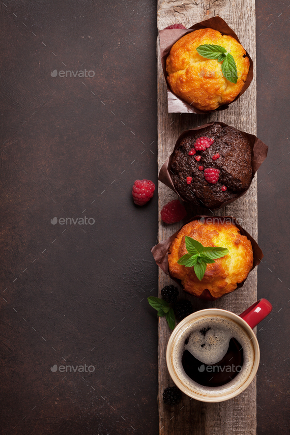 Muffins and coffee - Stock Photo - Images