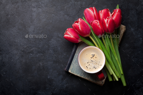 Red tulip flowers bouquet and coffee cup - Stock Photo - Images