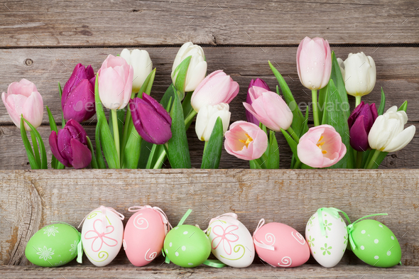 Easter eggs and colorful tulips - Stock Photo - Images