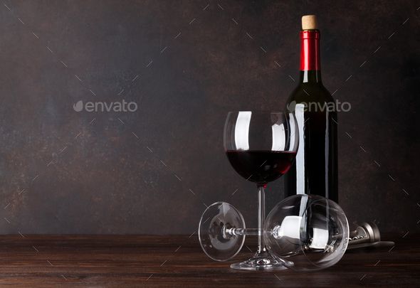 Red wine bottle and glasses - Stock Photo - Images