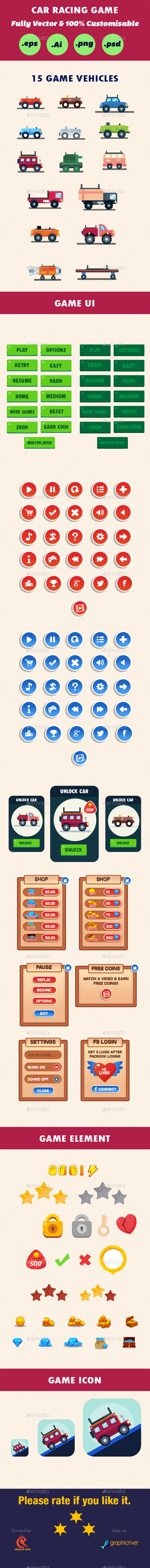 Car Race Game UI - User Interfaces Game Assets
