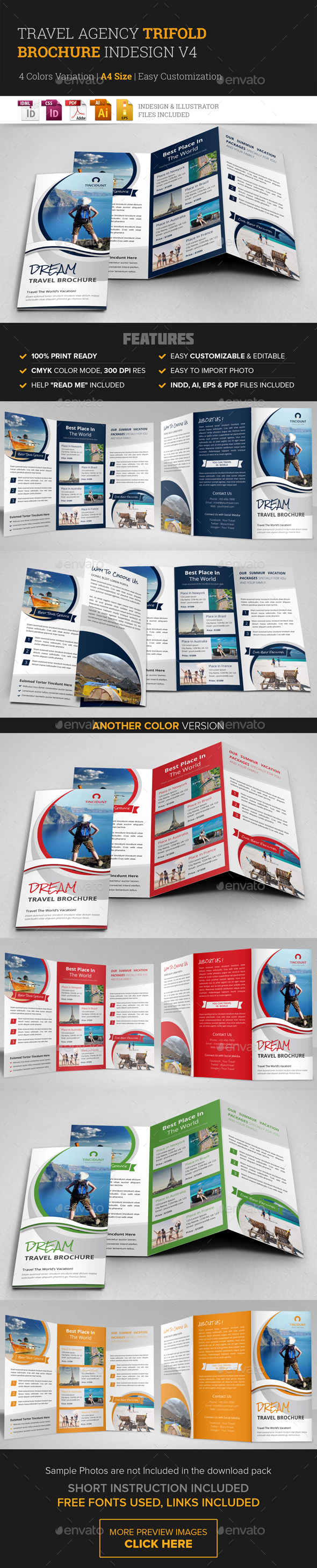 Travel Agency Trifold Brochure Design v4 - Corporate Business Cards