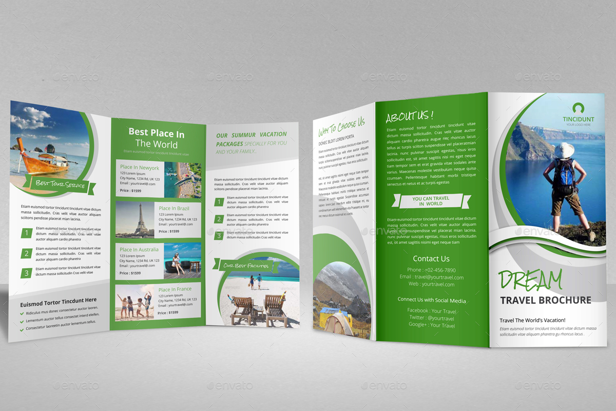 Travel Agency Trifold Brochure Design V4