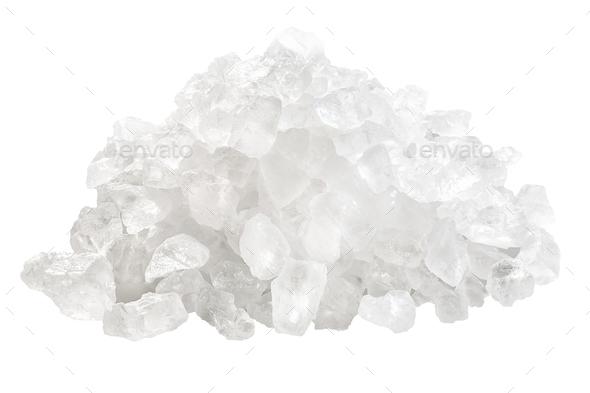 Coarse rock sea salt pile, paths - Stock Photo - Images