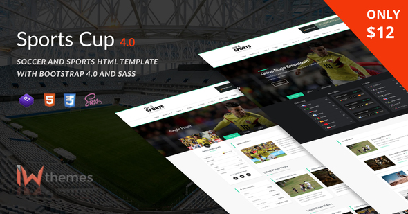Sports Cup, Soccer & Sporting Html Theme with Bootstrap 4 - Entertainment Site Templates