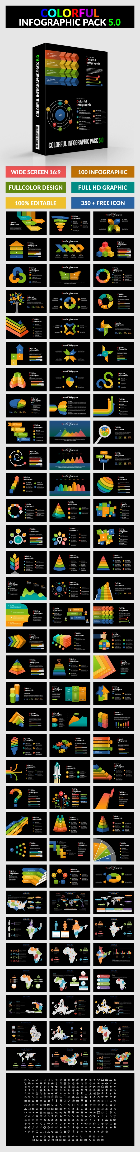 Colorful Infographic Pack 5.0 - PowerPoint - PowerPoint Templates Presentation Templates