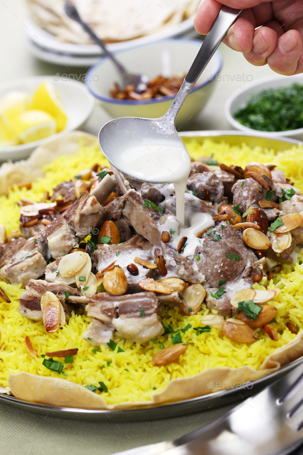 mansaf, Jordanian national dish - Stock Photo - Images