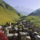 View of the Ushguli Village at the Foot of Mt. Shkhara. Picturesque and Gorgeous Scene. Famous - VideoHive Item for Sale