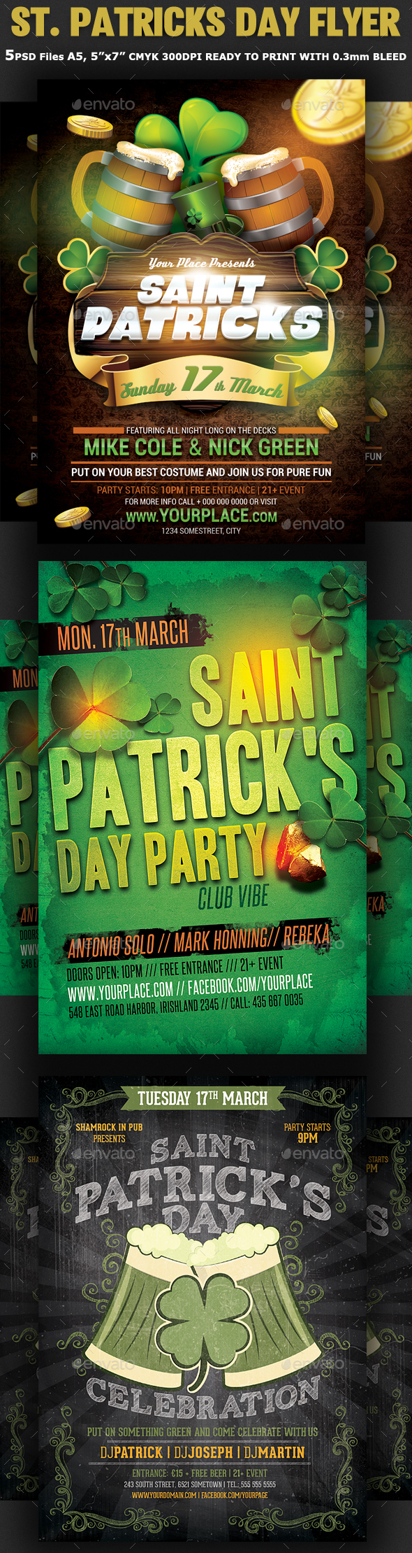 St. Patricks Day Flyer Bundle 3in1 - Clubs & Parties Events