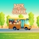 Vector Cartoon Kids Back to School on Yellow Bus