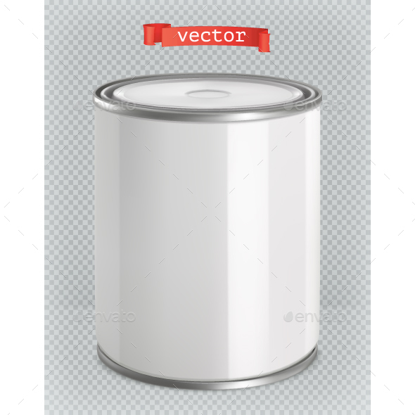 White Tin of Paint - Man-made Objects Objects