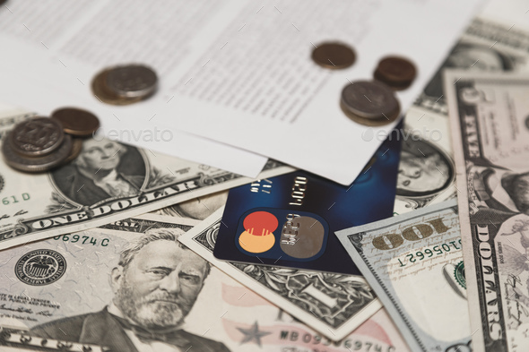 Bank credit card, moneys and coins and bank contract on background. Money and concept credit concept - Stock Photo - Images